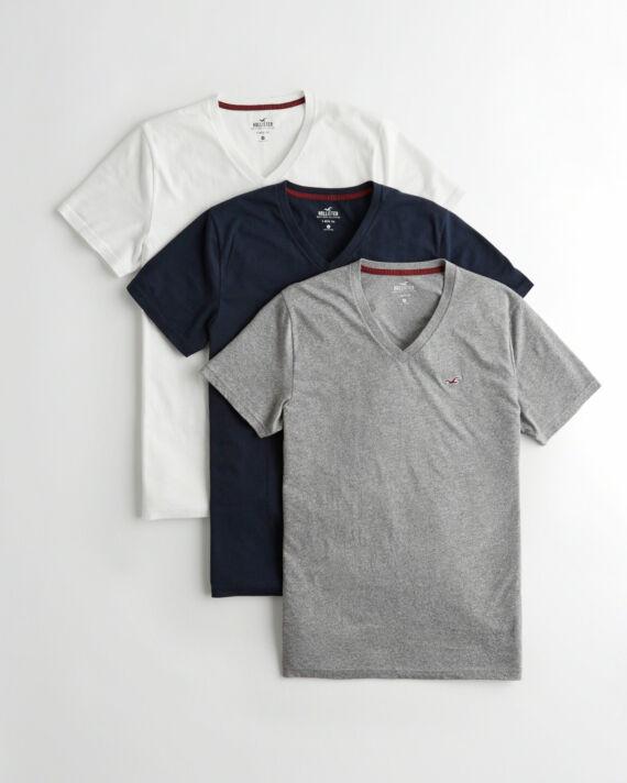 Hollister V nyakú pólócsomag 3db/csomag